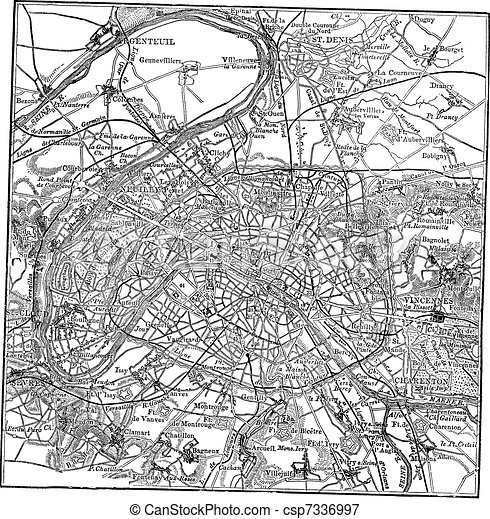 Paris and its environs vintage engraving - csp7336997