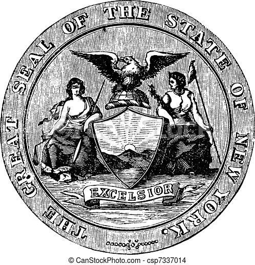 Seal of the State of New York, vintage engraved illustration - csp7337014