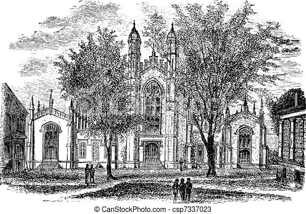 Yale University Library, in New Haven, Connecticut, USA, vintage engraved illustration - csp7337023