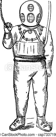 Diver in Surface-supplied Diving Equipment, vintage engraving - csp7337191