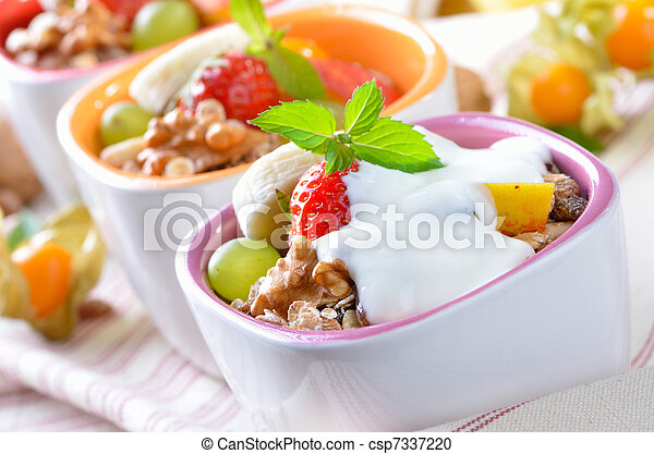Muesli with fruit and yogurt - csp7337220