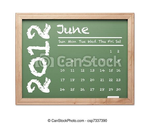 Stock de ilustration de verde calendario junio pizarra 2012 mes de junio csp7337390 - Pizarra calendario ...