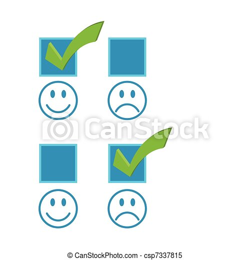 Happy and sad checkmark faces - csp7337815
