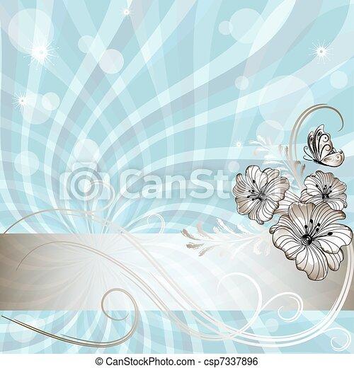 Gentle blue floral frame - csp7337896