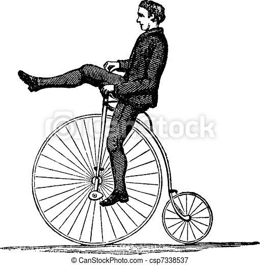 Penny-farthing or High Wheel Bicycle, vintage engraving - csp7338537