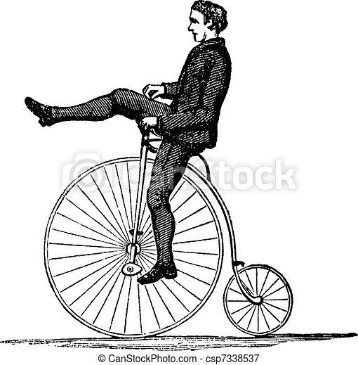 Penny-farthing or High Wheel Bicycle, vintage engraving - csp7338537