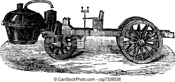 Steam-powered Tricycle, vintage engraving - csp7338538