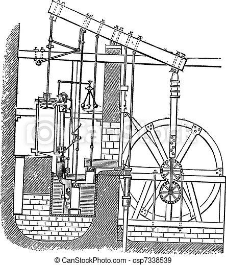 Watt Steam Engine, vintage engraving - csp7338539