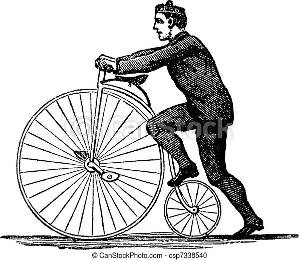 Penny-farthing or High Wheel Bicycle, vintage engraving - csp7338540
