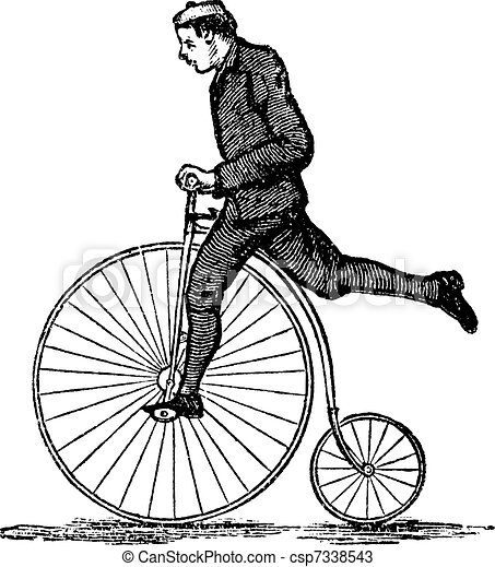 Penny-farthing or High Wheel Bicycle, vintage engraving - csp7338543
