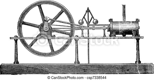 Simple Expansion Steam Engine, vintage engraving - csp7338544