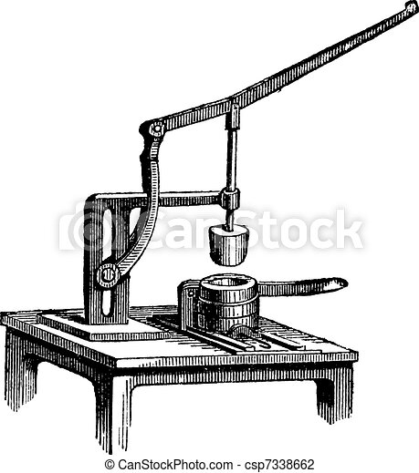 Toggle Press, vintage engraving - csp7338662