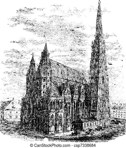 Limoges Cathedral, in Haute-Vienne, Limousin, France, vintage engraving - csp7338684