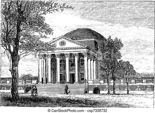 University of Virginia, in Charlottesville, Virginia, USA, vintage engraving - csp7338732