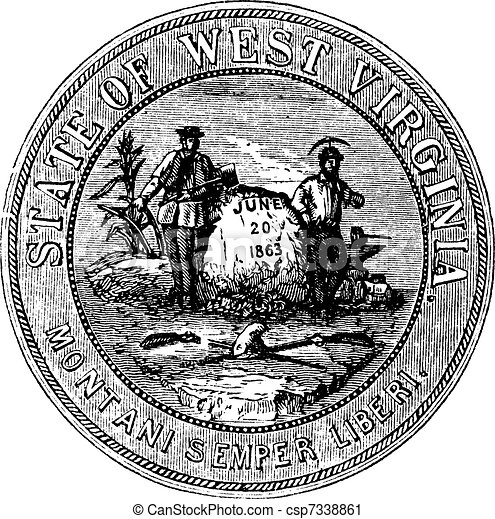 Seal of the State of West Virginia, USA, vintage engraving - csp7338861