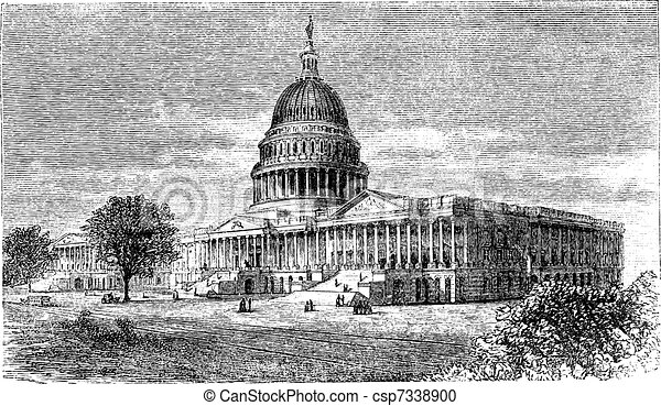 United States Capitol, in Washington, D.C., USA, vintage engraving - csp7338900
