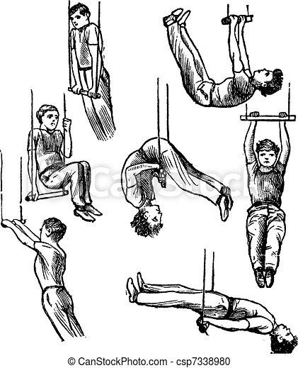 Trapeze, vintage engraving - csp7338980