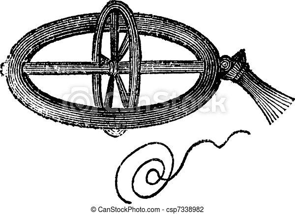 Armillary Top, vintage engraving - csp7338982