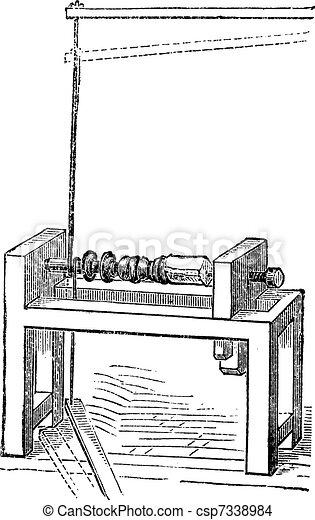 Pole Lathe Woodturning Machine, vintage engraving - csp7338984