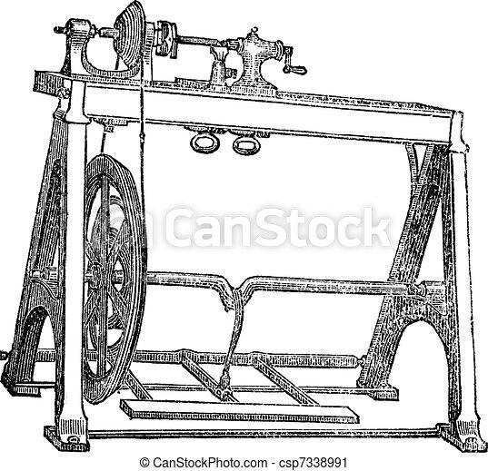 Spindle Lathe Woodturning Machine, vintage engraving - csp7338991