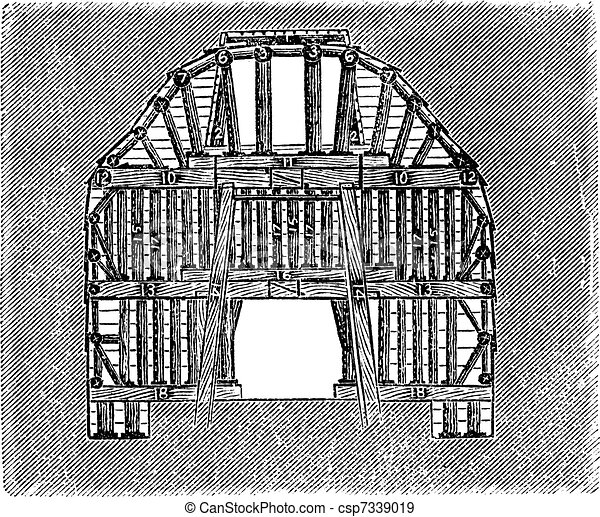 Wooden Tunnel Design, vintage engraving - csp7339019