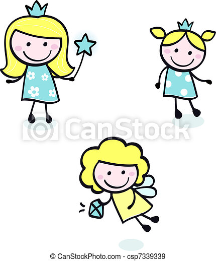 eps vectors of cute doodle princess collection isolated on Free Disney Character Clip Art free cinderella clipart
