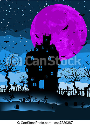Dark scary halloween night. EPS 8 - csp7339387