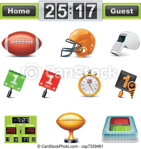 Vector Amfootball/gridiron icon set - csp7339481