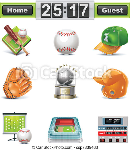 Vector baseball / softball icon set - csp7339483