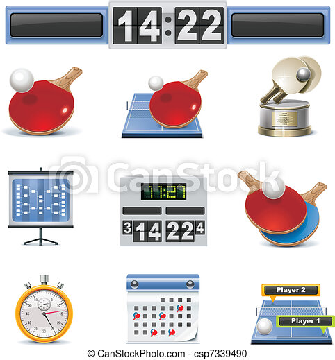 Vector table tennis icon set - csp7339490