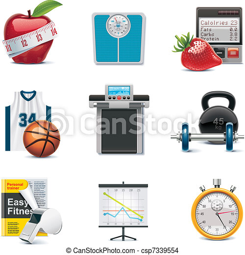 Vector fitness icon set - csp7339554