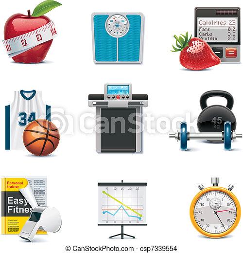Vector fitness icon set - csp7339554