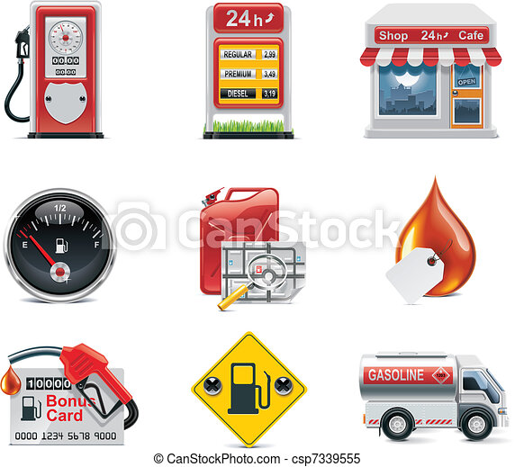 Vector gas station icon set - csp7339555