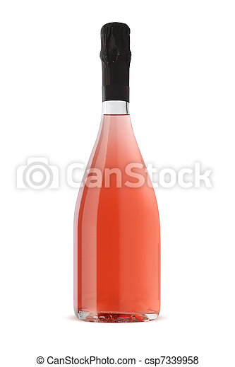 Sparkling White Wine Bottle, Champagne bottle isolated on a white background - csp7339958