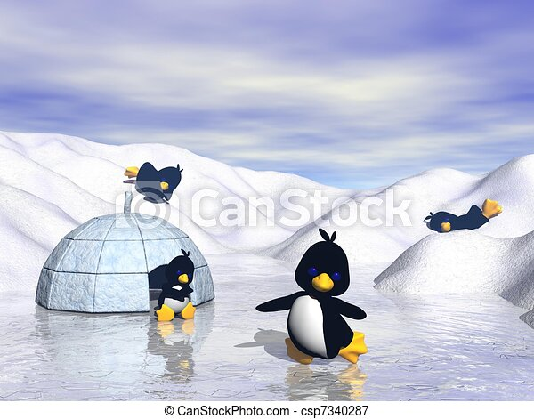 Playful Cartoon Penguins in Snow - csp7340287