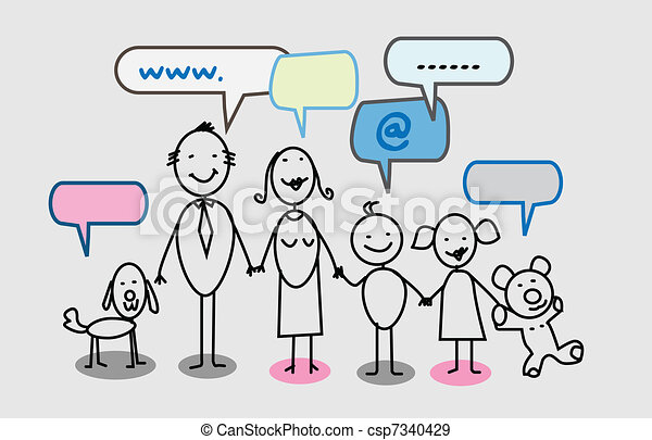 happy family social network  - csp7340429