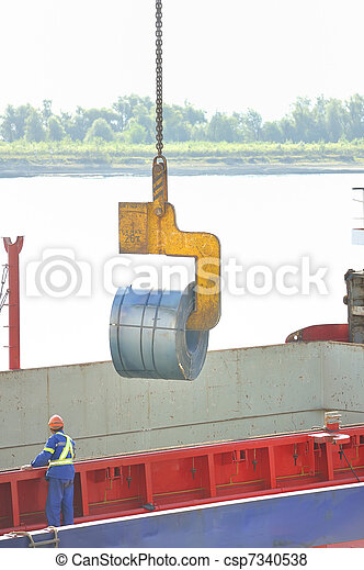 rolls of steel sheet in the harbor - csp7340538