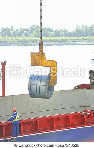 rolls of steel sheet in the harbor - csp7340538