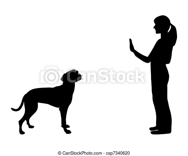 Dog training (obedience): command stop - csp7340620