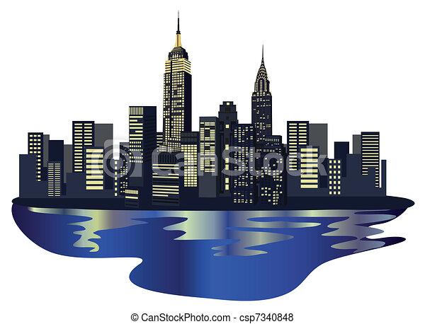Vettore di nuovo york grattacieli illustrazione con for Immagini grattacieli di new york