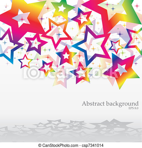 Abstract bacground with rainbow stars, vector illustration - csp7341014