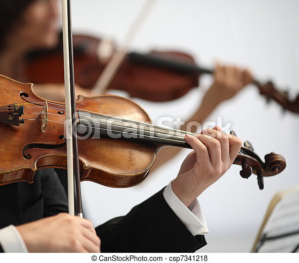 details of musicians to play a symphony  - csp7341218