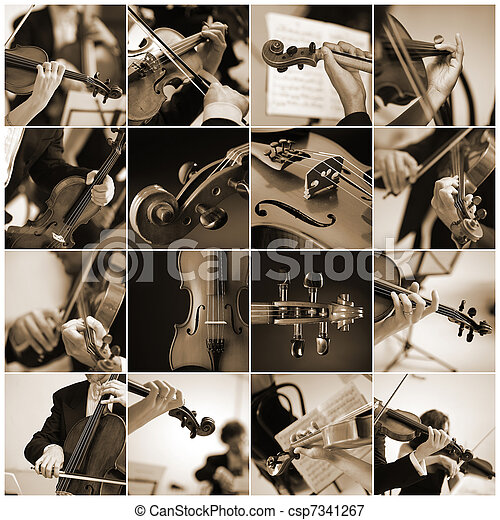 collage Violin detail musicians to play a symphony - csp7341267