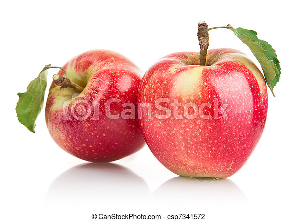 green apple fruits with leaf - csp7341572
