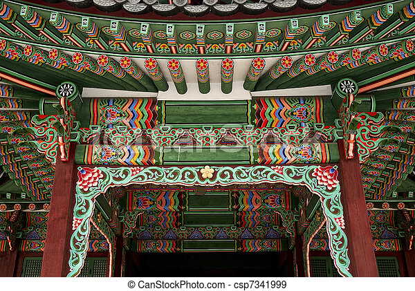 temple painting detail seoul south korea asia - csp7341999