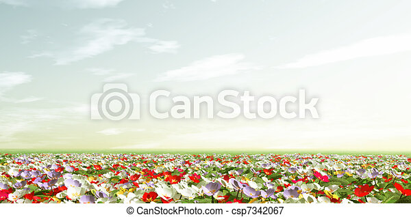 Spring scenery with primroses - csp7342067