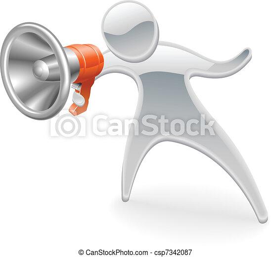 Metallic mascot megaphone concept - csp7342087