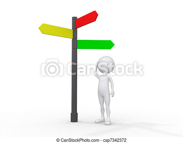 3d people icon surrounded by directional signs, this is a 3d render illustration - csp7342372