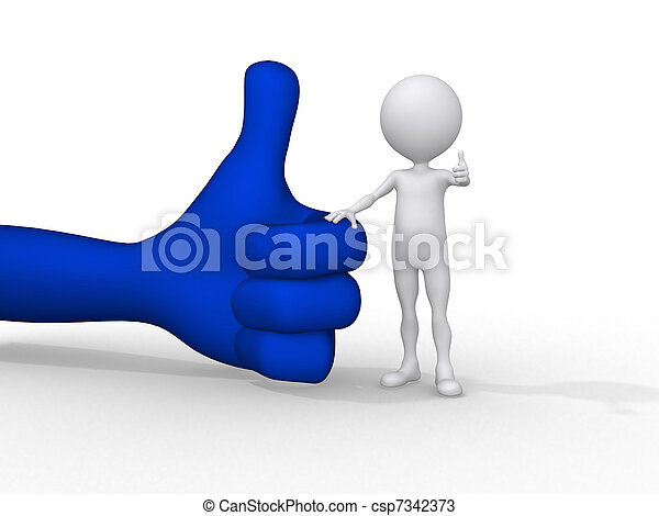 3d small people holding on a positive symbol, 3d image - csp7342373