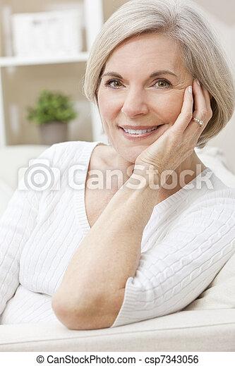 Portrait of A Happy Smiling Attractive Senior Woman - csp7343056